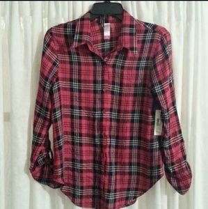 No Boundaries Red Plaid Long-Sleeve Shirt Sz M